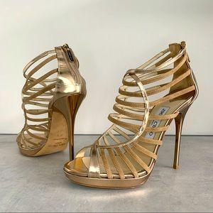 Jimmy Choo, Virginia Gold Metallic Heel